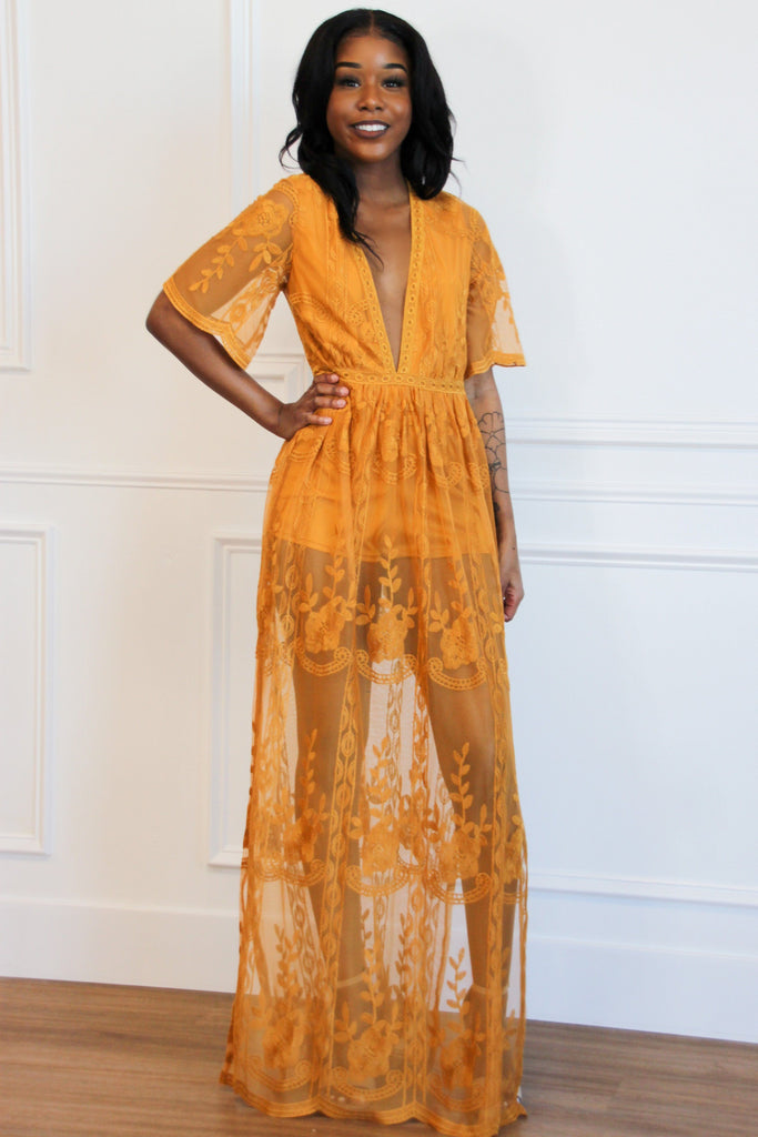Lover Maxi Romper: Mustard - Bella and Bloom Boutique