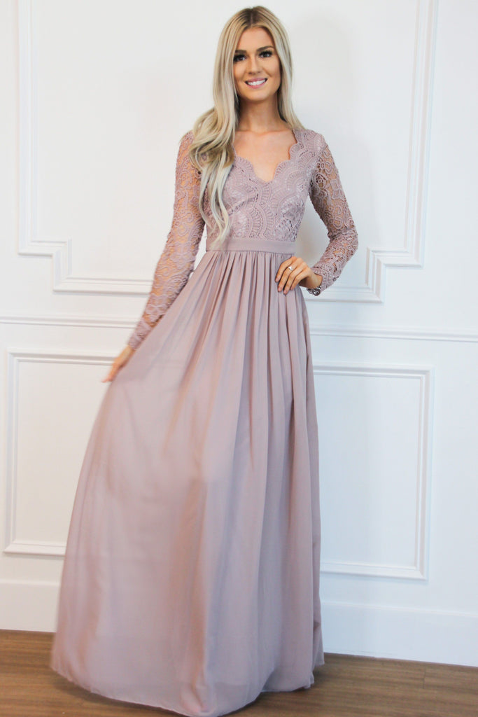 Winter Wonderland Lace Maxi Dress: Mauve - Bella and Bloom Boutique