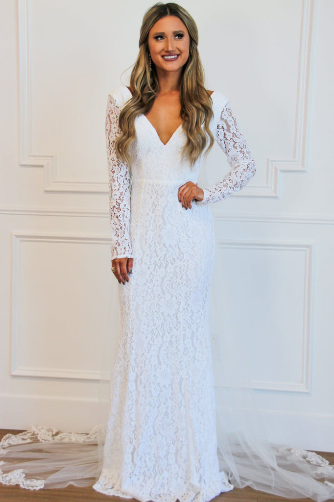 Wedded Bliss Lace Maxi Dress: Ivory - Bella and Bloom Boutique