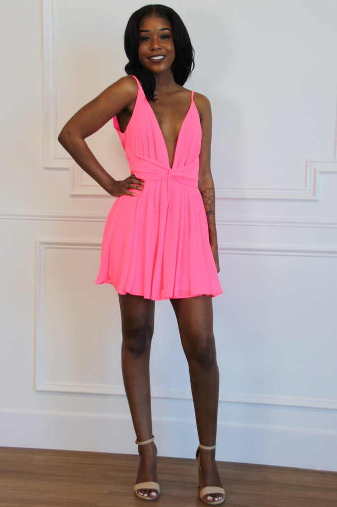 Beyond Words Dress: Neon Pink - Bella and Bloom Boutique