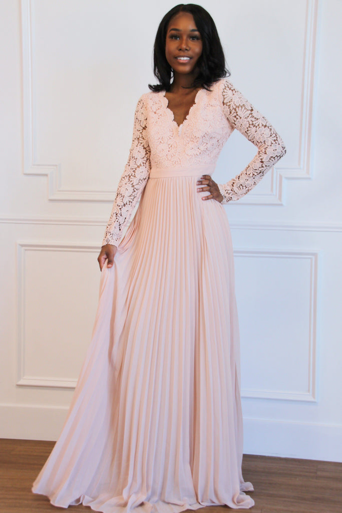 Spring Pleats Maxi Dress: Light Pink - Bella and Bloom Boutique