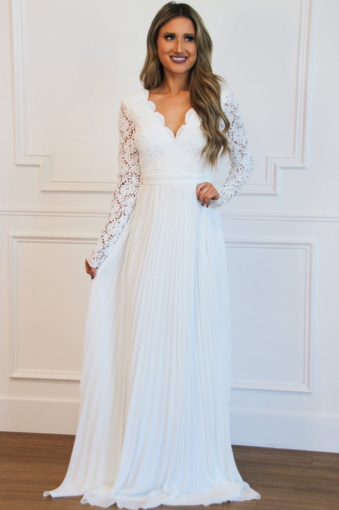 Spring Pleats Maxi Dress: White - Bella and Bloom Boutique