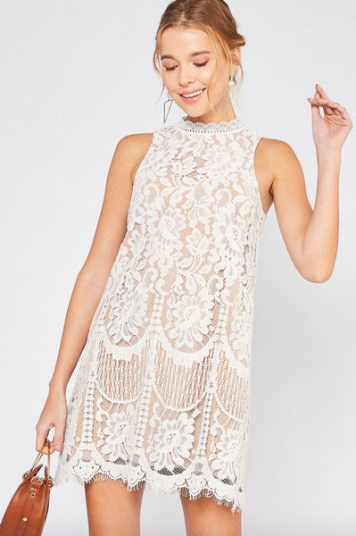 RESTOCK: Finally Found You Dress: White/Nude - Bella and Bloom Boutique