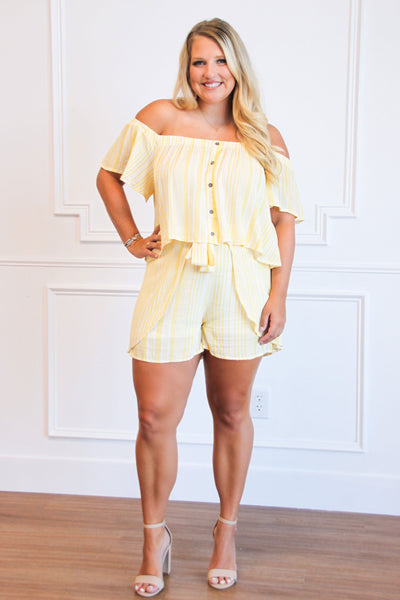 Take a Vacay Two Piece Set: Yellow/White - Bella and Bloom Boutique