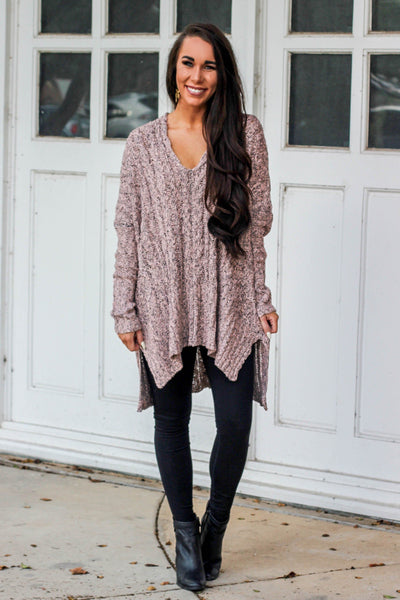 Savannah Sweater: Mauve - Bella and Bloom Boutique
