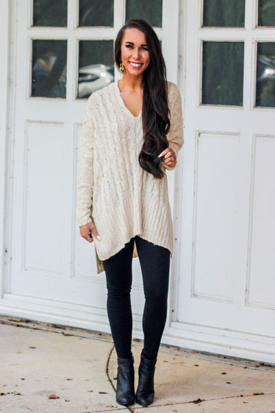 Savannah Sweater: Ivory - Bella and Bloom Boutique