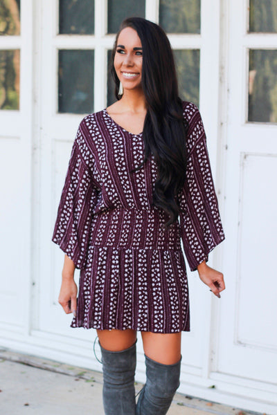 Fall Babe Dress: Burgundy - Bella and Bloom Boutique