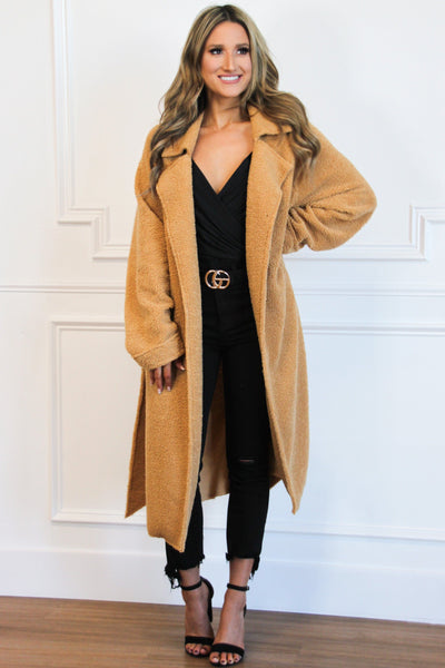 Winter Essential Teddy Coat: Camel - Bella and Bloom Boutique