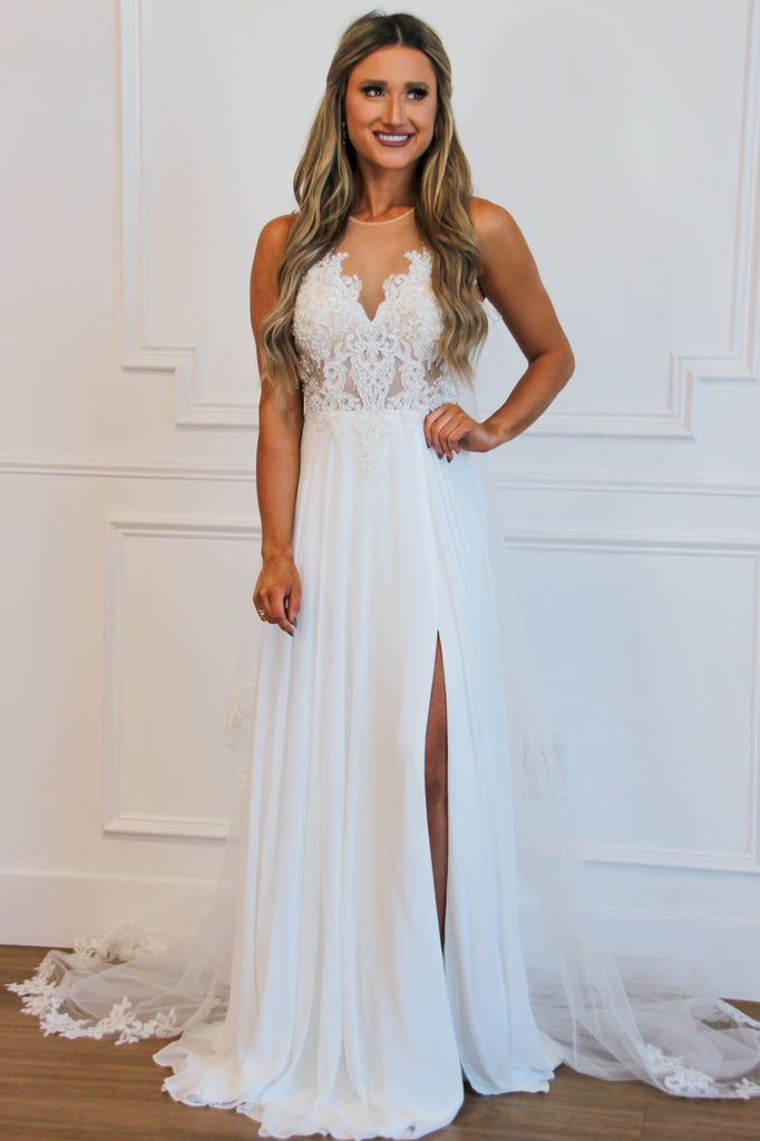 Blushing Bride Nude Illusion Chiffon Wedding Dress: White - Bella and Bloom Boutique