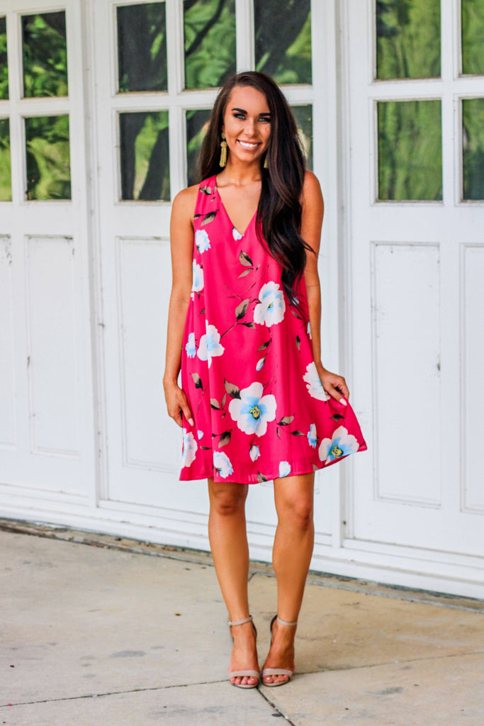 Bold Florals Dress: Fuschia - Bella and Bloom Boutique