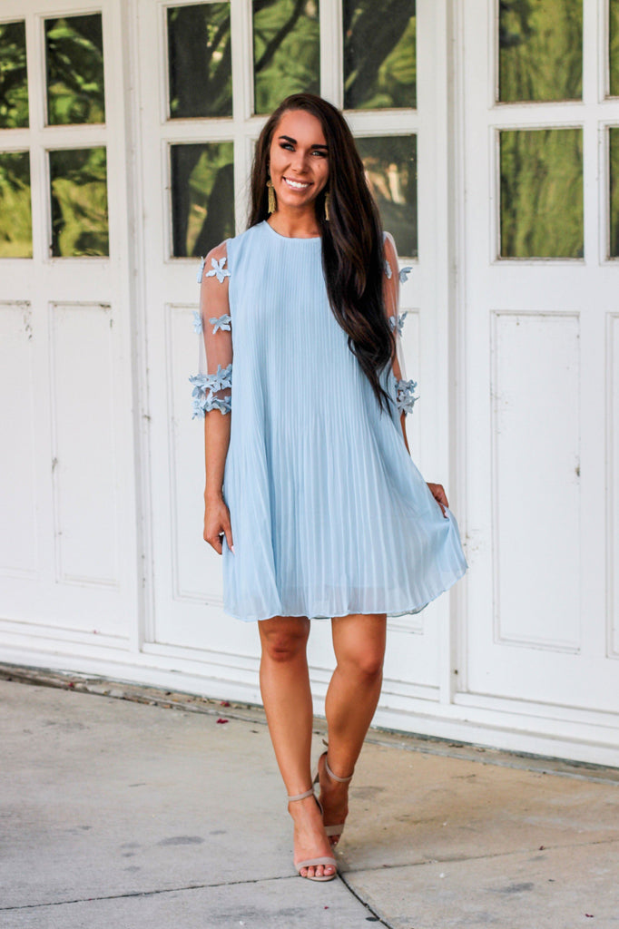 Love Out Loud Dress: Light Blue - Bella and Bloom Boutique