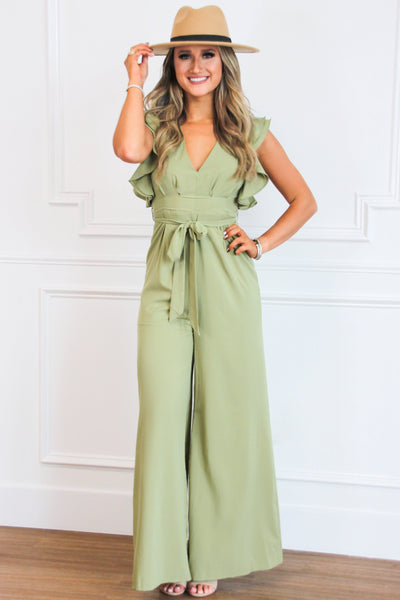 Autumn Crush Jumpsuit: Light Olive