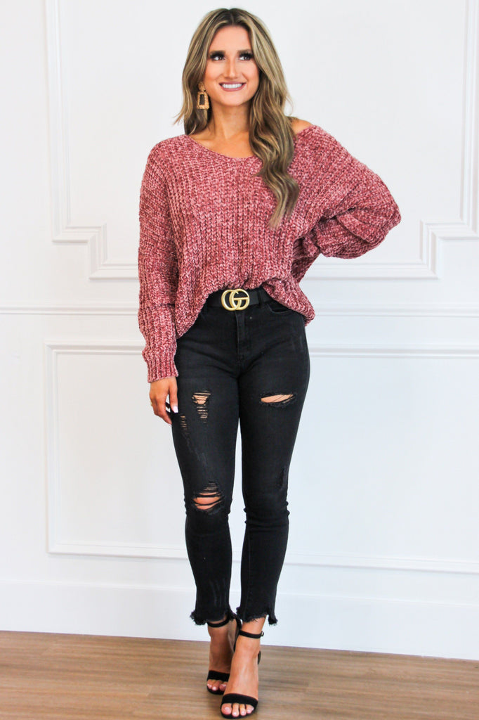 RESTOCK: Star Gazing Chenille Sweater: Mauve - Bella and Bloom Boutique