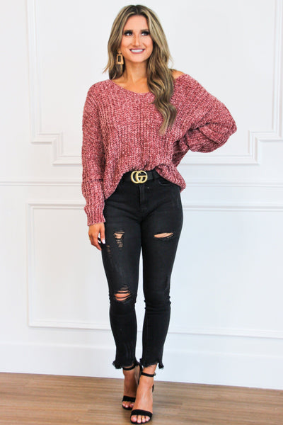 Star Gazing Chenille Sweater: Mauve