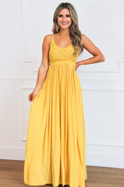 Love Me Tender Maxi Dress: Mustard