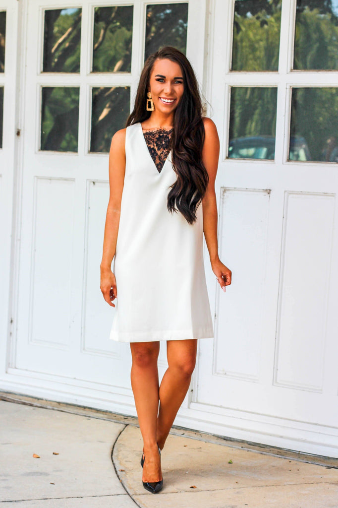Business Chic Dress: Ivory/Black - Bella and Bloom Boutique