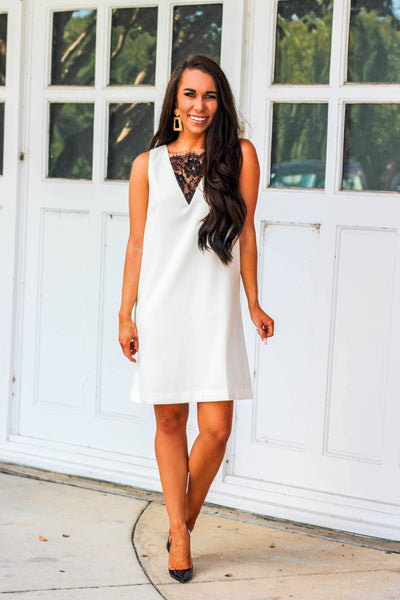 Business Chic Dress: Ivory/Black