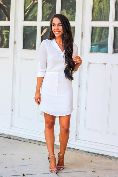 RESTOCK: Let Me Down Easy Dress: White - Bella and Bloom Boutique