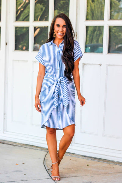 Boss Babe Dress: White/Blue - Bella and Bloom Boutique