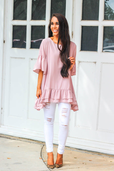 Love on the Weekend Top: Blush - Bella and Bloom Boutique