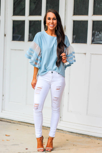 RESTOCK: Faith Top: Chambray - Bella and Bloom Boutique