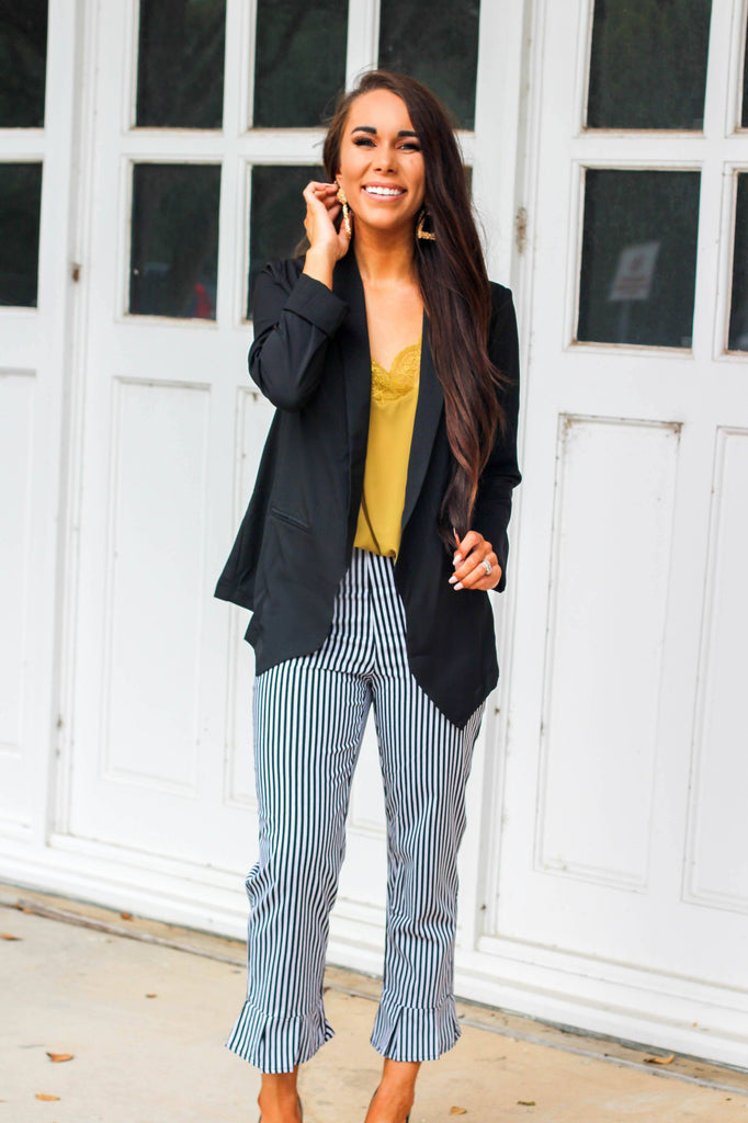 Business Babe Blazer: Black - Bella and Bloom Boutique