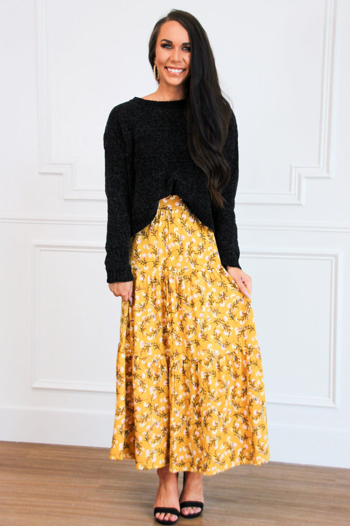 Gemma Maxi Skirt: Yellow Floral - Bella and Bloom Boutique