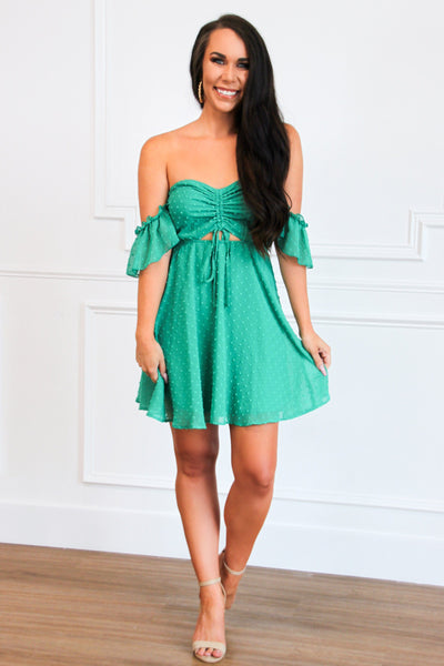 Flirty Girl Swiss Dot Dress: Emerald