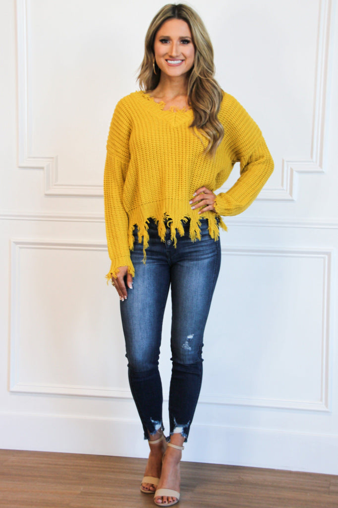 Distressed Essential Sweater: Mustard - Bella and Bloom Boutique