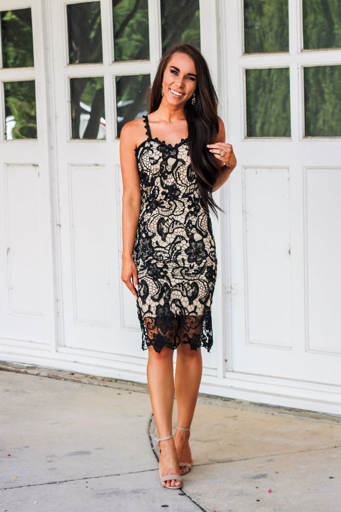 Stole My Heart Dress: Black/Nude - Bella and Bloom Boutique