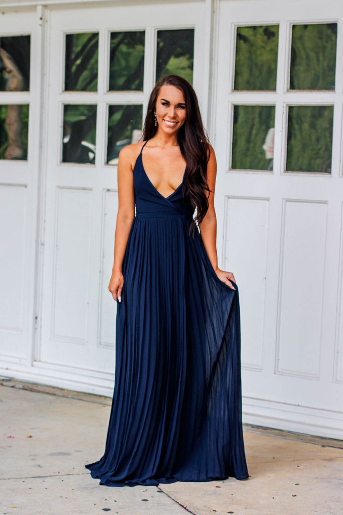 Love and Pleats Maxi Dress: Navy - Bella and Bloom Boutique