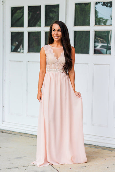 Sweet Romance Maxi Dress: Blush - Bella and Bloom Boutique