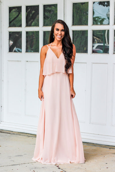 RESTOCK: Here's To Forever Maxi Dress: Blush - Bella and Bloom Boutique
