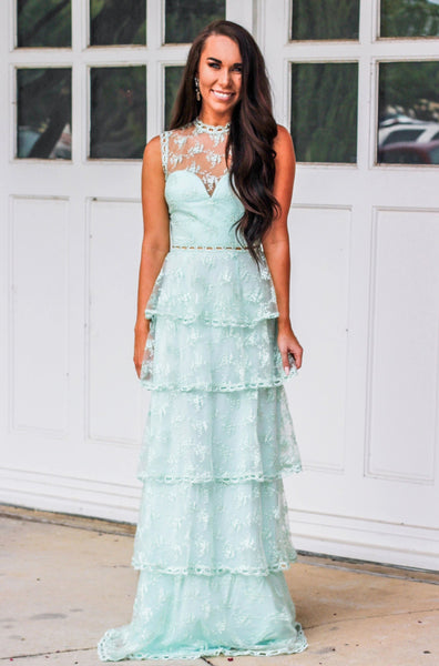 RESTOCK: Cascading Love Maxi Dress: Mint - Bella and Bloom Boutique