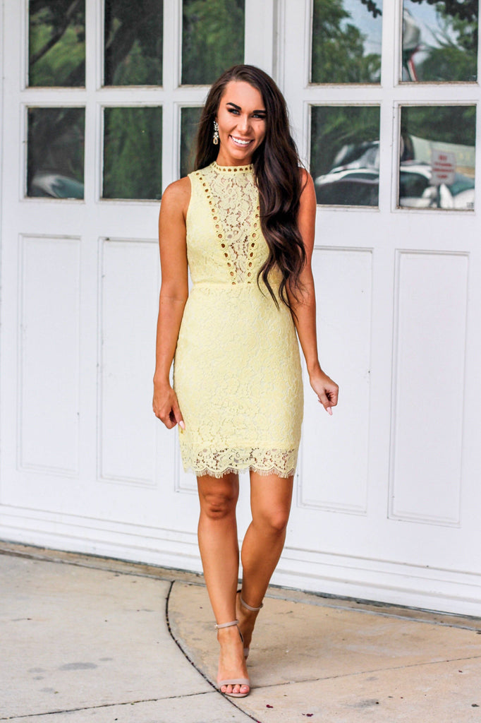 Love and Lace Dress: Pastel Yellow - Bella and Bloom Boutique