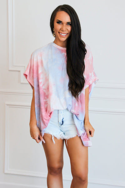Happy With You Tie Dye Top: Blue Multi - Bella and Bloom Boutique