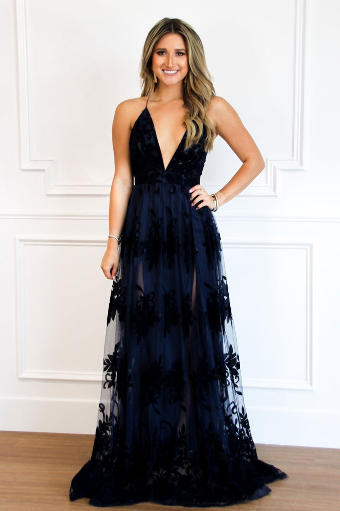 RESTOCK: Here Comes the Bride Maxi Dress: Navy - Bella and Bloom Boutique