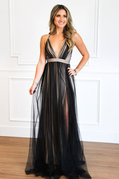 RESTOCK: Forever Love Maxi Dress: Black/Nude - Bella and Bloom Boutique