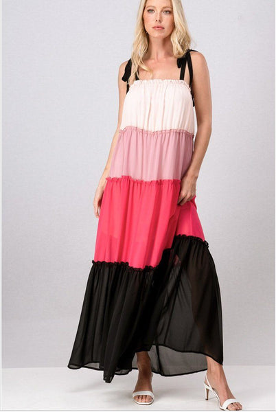 Can't Help Falling Maxi Dress: Pink Multi - Bella and Bloom Boutique