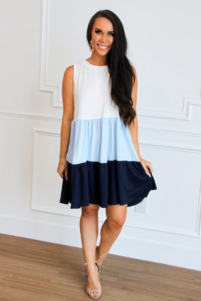 RESTOCK: Got the Blues Colorblock Dress: Blue Multi - Bella and Bloom Boutique
