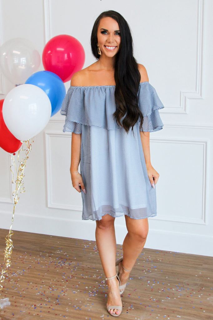 RESTOCK: Gingham Crush Dress: Navy/White - Bella and Bloom Boutique