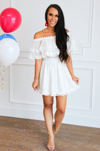 Emilia Ruffle Dress: White - Bella and Bloom Boutique