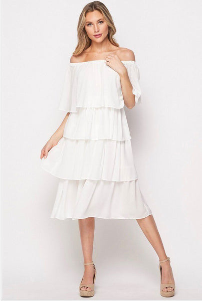 Fill Your Heart Tiered Midi Dress: Ivory - Bella and Bloom Boutique