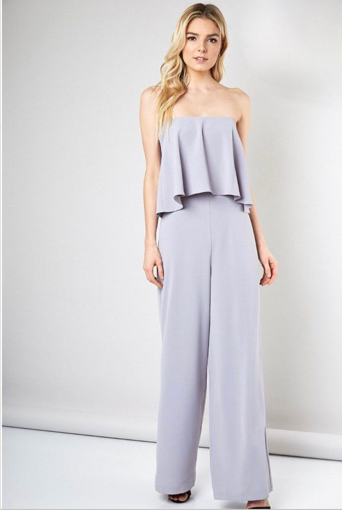 RESTOCK: Hopelessly Devoted Jumpsuit: Dove Gray - Bella and Bloom Boutique