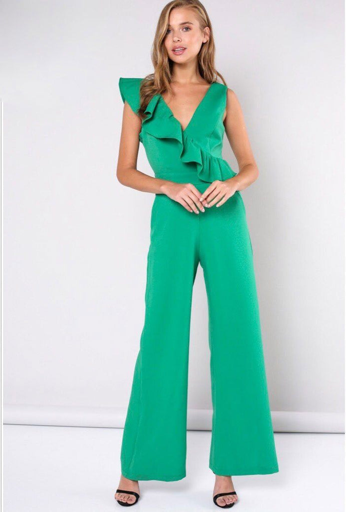 Feminine Frills Jumpsuit: Green - Bella and Bloom Boutique
