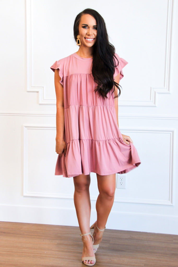 Delilah Babydoll Dress: Mauve - Bella and Bloom Boutique