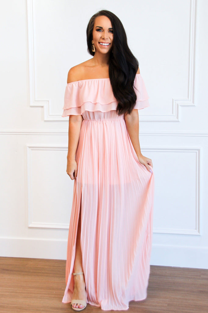 Pleated Beauty Maxi Dress: Blush - Bella and Bloom Boutique