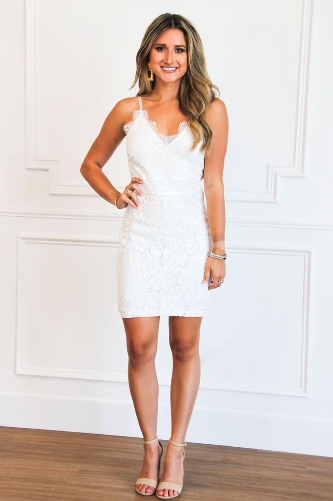 RESTOCK: One More Night Lace Dress: White - Bella and Bloom Boutique