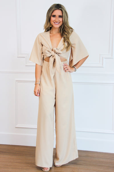 Tie You Down Jumpsuit: Taupe - Bella and Bloom Boutique
