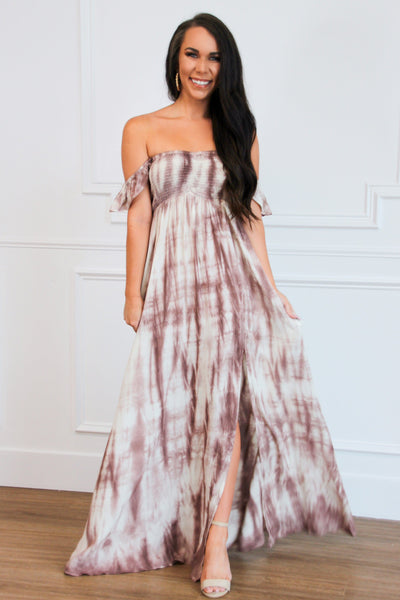 Dreamer Tie Dye Maxi Dress: Ivory/Mauve - Bella and Bloom Boutique
